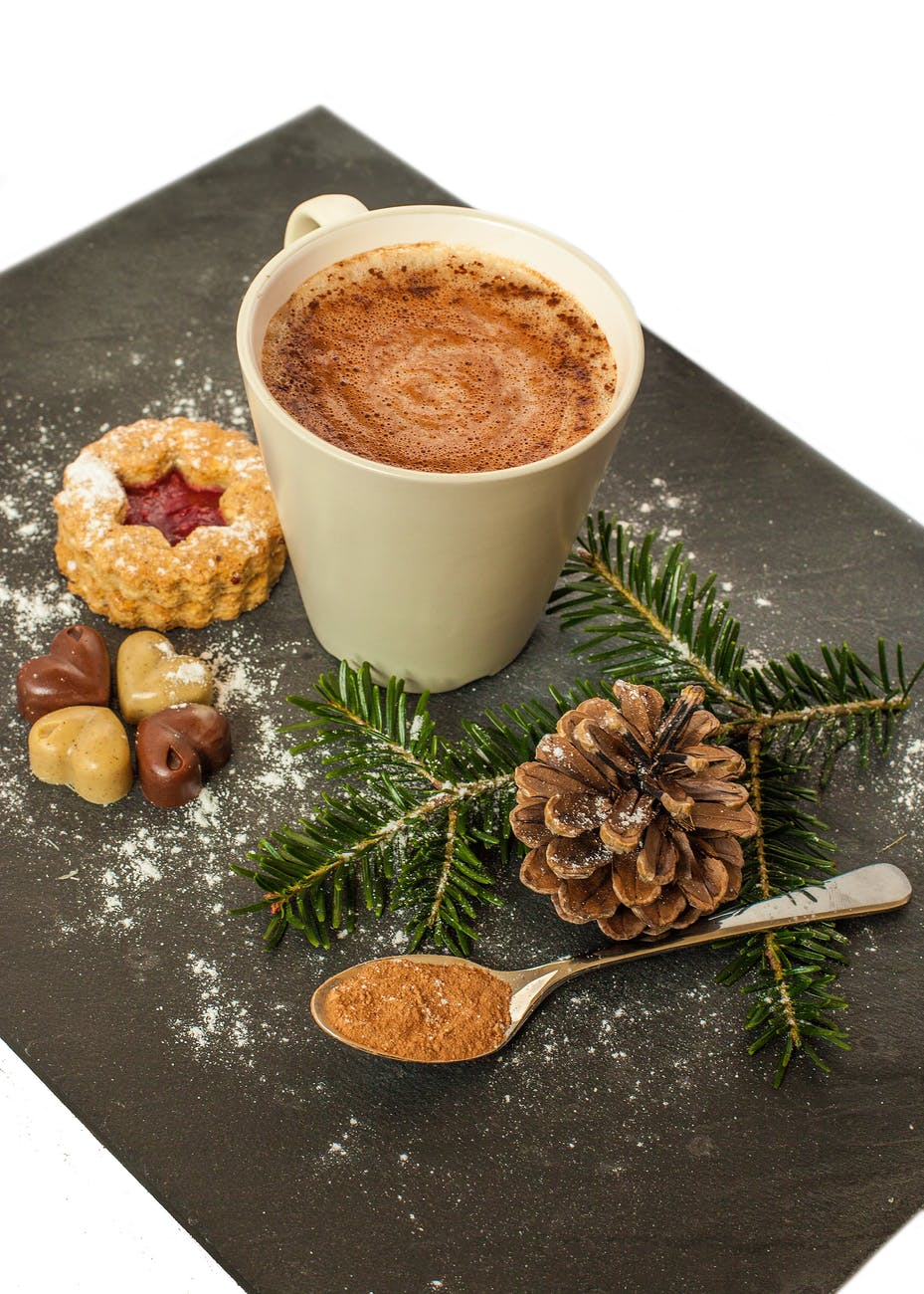 white ceramic mug with brown liquid and pine cone